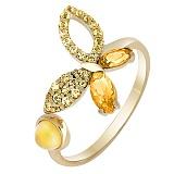 Кольцо в желтом золоте Веселая бабочка с цитрином и фианитами