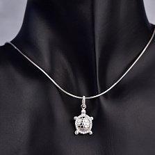 Серебряный кулон Черепашка с кристаллами циркония