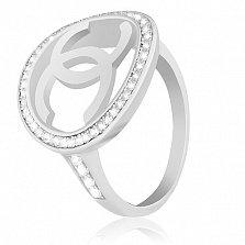 Серебряное кольцо Chanel с фианитами в стиле Шанель