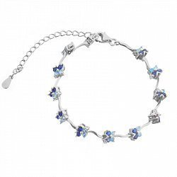 Серебряный браслет с синими и голубыми фианитами 000025881