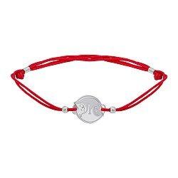 Шелковый браслет Котики Инь Ян с круглой серебряной вставкой 000071778