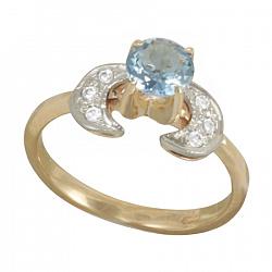 Золотое кольцо Прунелла с синтезированным аквамарином и фианитами