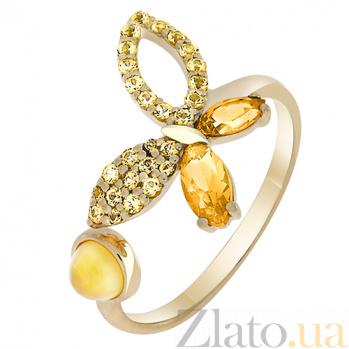 Кольцо в желтом золоте Веселая бабочка с цитрином и фианитами 000032822