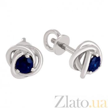 Золотые серьги-пуссеты с синими сапфирами Адонсия VLN--123-1606-14*