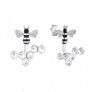 Серебряные серьги-пуссеты Пчелки на сотах с фианитами и черной эмалью 000095654
