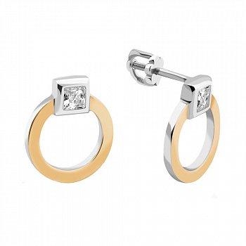 Серебряные серьги-пуссеты с золотыми накладками и фианитами 000116069