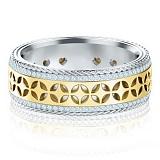 Обручальное кольцо Карусель желаний из белого и желтого золота с бриллиантами