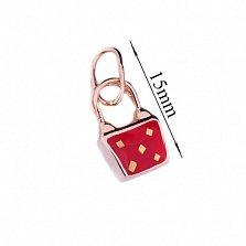 Золотая подвеска с цветной эмалью Красная сумочка