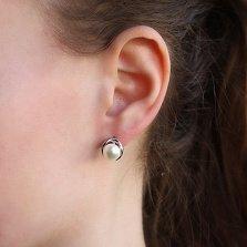 Серебряные серьги Нежность с белым жемчугом