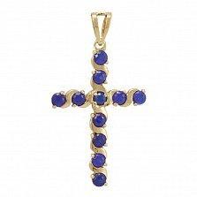 Золотой крестик Вероника с синтезированным сапфиром