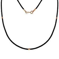 Шелковый крученый шнурок с золотыми элементами и застежкой, 2мм 000101833
