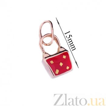 Золотая подвеска с цветной эмалью Красная сумочка 000026429