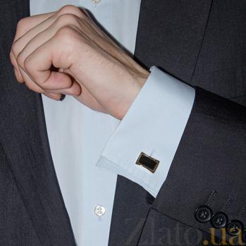 Серебряные запонки с ониксом и золотой накладкой Мужская элегантность BGS--02П/1