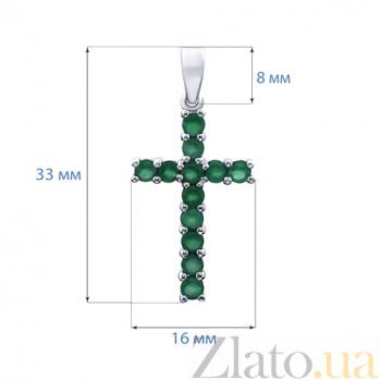 Серебряный крест с агатами Райский сад AQA--P00522Ag