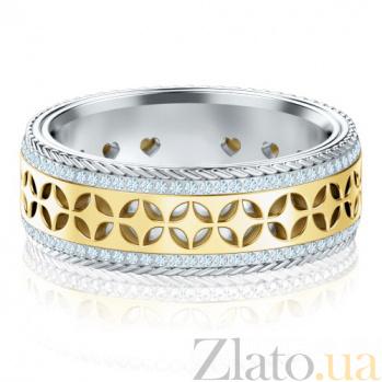 Обручальное кольцо Карусель желаний из белого и желтого золота с бриллиантами 1384