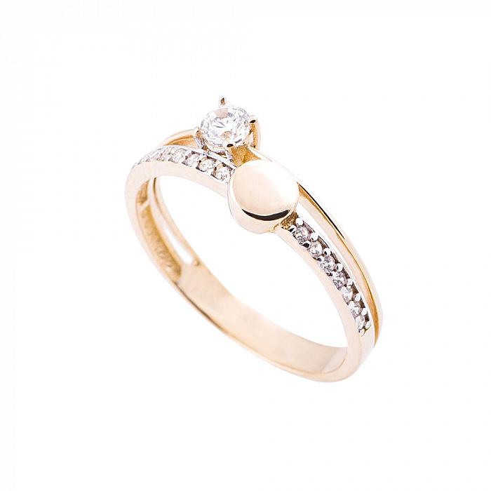 Золотое кольцо Саванна с фантазийной шинкой и белыми фианитами 000082354
