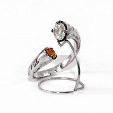 Кольцо из серебра Bi с оранжевым и белым цирконием
