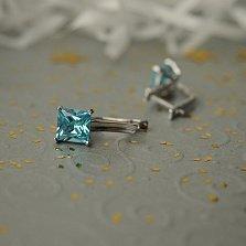 Серебряные серьги Далила с голубыми фианитами
