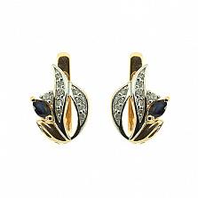 Золотые серьги с бриллиантами и сапфирами Цветана