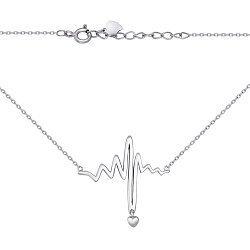 Серебряное колье Ритм с подвеской-сердечком в стиле минимализм