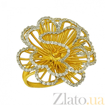 Кольцо из желтого золота Нежный цветок с фианитами VLT--ТТ1042-1