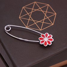 Серебряная булавка Цветик с красной эмалью