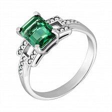 Серебряное кольцо Викентия с зеленым кварцем и фианитами