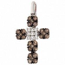 Золотой крестик Нежное сияние с разноцветными бриллиантами