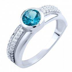 Серебряное кольцо с синтезированным топазом лондон и фианитами 000055854