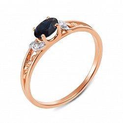 Кольцо в комбинированном цвете золота с сапфиром и бриллиантами с родированием 000134585