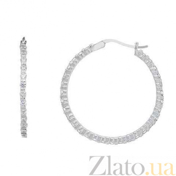 Серебряные серьги кольца Виктори  AQA--JXT-0105-E-L