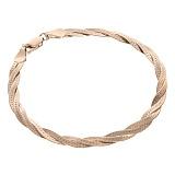 Серебряный позолоченный браслет Луанда толщиной 4мм, размер 19