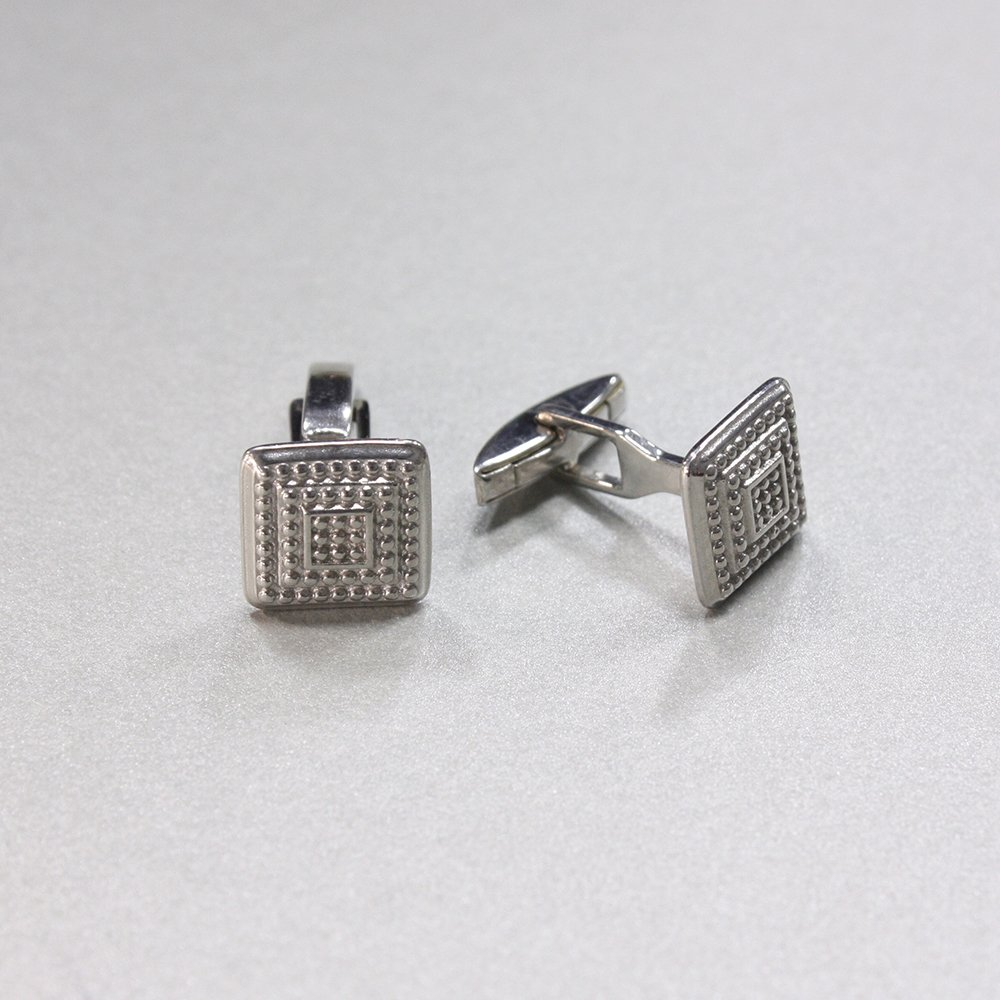 Серебряные запонки Арни с фактурной поверхностью и родием