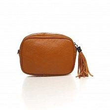 Кожаный клатч-косметичка Genuine Leather 1410 коньячного цвета с плечевым ремнем