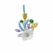 Серебряный кулон Милый букет с разноцветными фианитами и перламутром