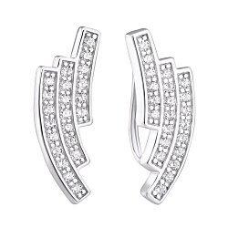 Серебряные серьги-каффы с кристаллами циркония 000099308