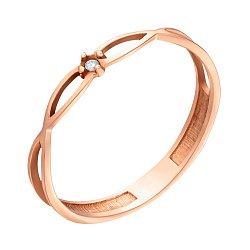Золотое кольцо Бесконечное переплетение с бриллиантом 000062224