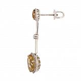 Серьги-подвески в белом цвете золота с цитрином и бриллиантами Танго