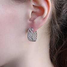 Серебряные серьги Линара с фианитами