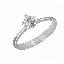 Кольцо из белого золота Мелодия любви с бриллиантом