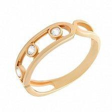 Золотое кольцо Грация с подвижными фианитами в стиле Шопар