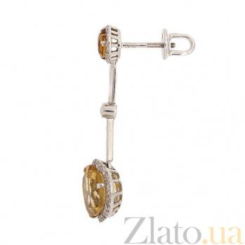 Серьги-подвески в белом цвете золота с цитрином и бриллиантами Танго ZMX--ECt-6609w_K