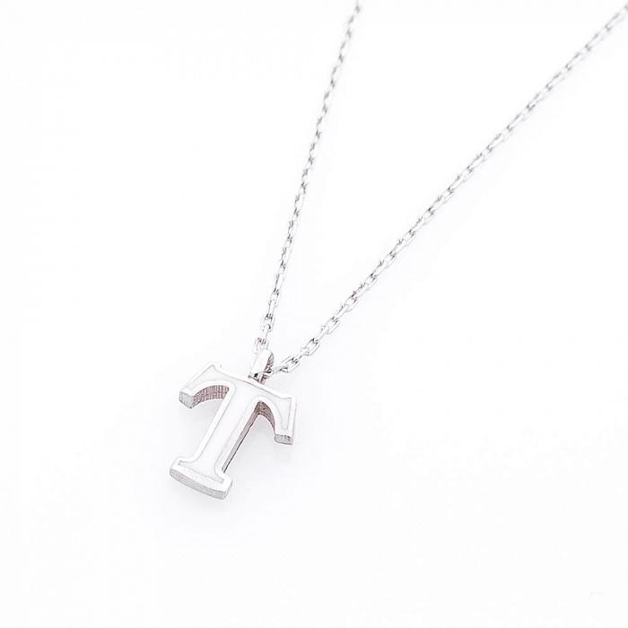 Серебряное колье Буква Т с белой эмалью 000069173