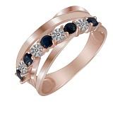 Кольцо из красного золота с сапфирами и бриллиантами Айседора