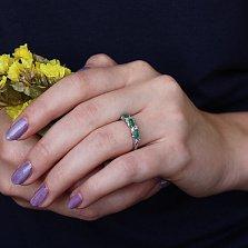 Серебряное кольцо Аранта с изумрудами и фианитами