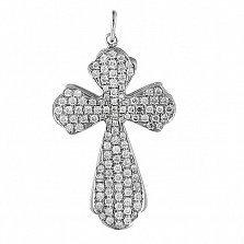 Крестик из белого золота Сияние с бриллиантами