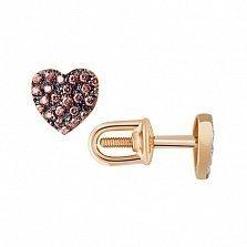Сережки-гвоздики из красного золота Сердце с коньячными фианитами