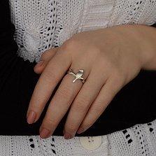 Серебряное матированное кольцо Весенняя птица на ветке