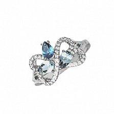Серебряное кольцо Агния с кварцем под лондон топаз, голубым кварцем и фианитами