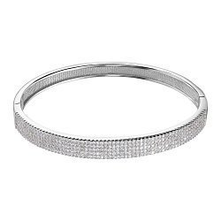 Серебряный жесткий браслет с фианитами 000136751